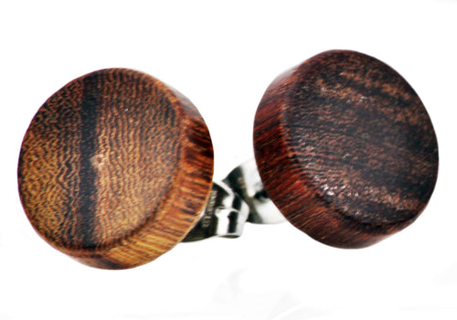 Mens 12mm Wood Stainless Steel Stud Earrings - Blackjack Jewelry