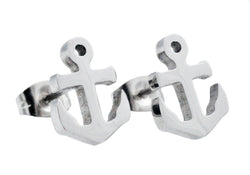 Mens Stainless Steel Anchor Earrings - Blackjack Jewelry