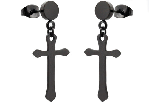 Mens Black Stainless Steel Cross Earrings - Blackjack Jewelry