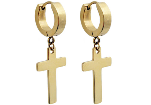 Mens Gold Plated Stainless Steel Cross Earrings - Blackjack Jewelry
