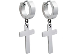 Mens Stainless Steel Cross Earrings - Blackjack Jewelry