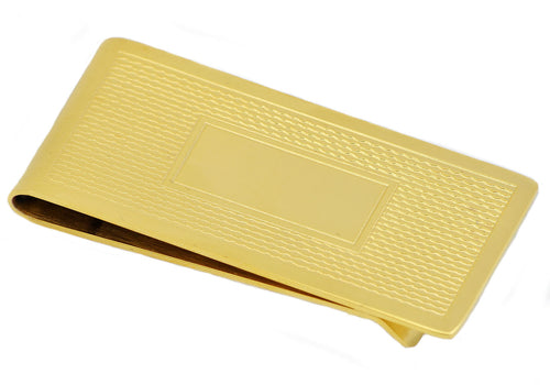 Mens Gold Plated Stainless Steel Money Clip - Blackjack Jewelry