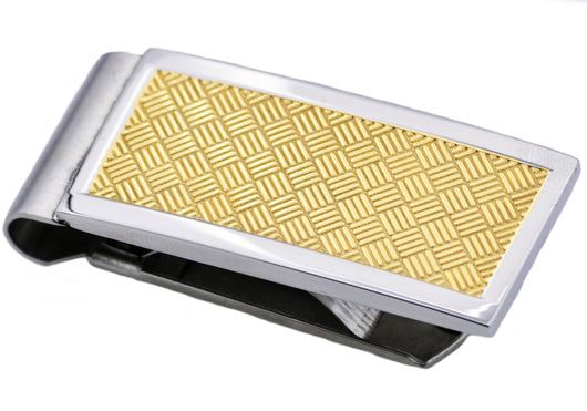 Mens Gold Plated Stainless Steel Money Clip
