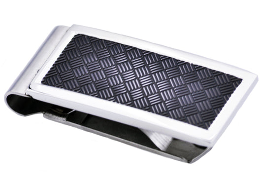Mens Black Plated Stainless Steel Money Clip