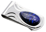Mens Genuine Blue Tiger Eye Stainless Steel Money Clip