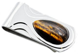 Mens Genuine Tiger Eye Stainless Steel Money Clip