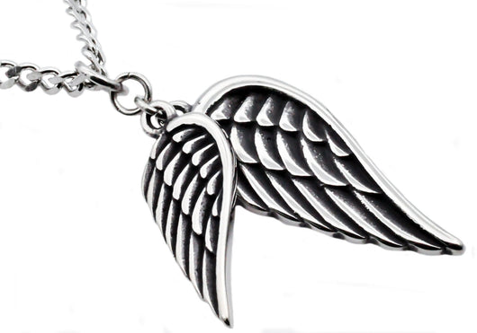 Mens Stainless Steel Wings Pendant - Blackjack Jewelry