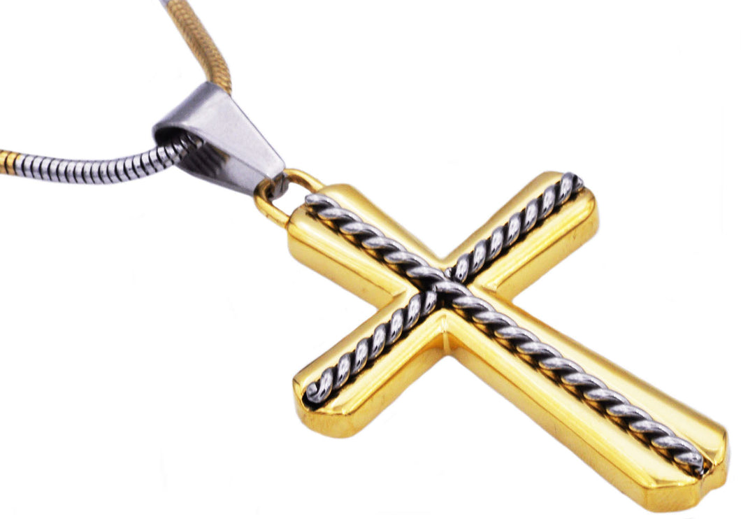 Mens Gold Stainless Steel Cross Pendant - Blackjack Jewelry