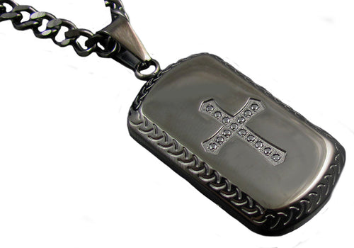 Mens Black Plated Stainless Steel Cross Dog Tag Pendant Necklace with Black Cubic Zirconia - Blackjack Jewelry