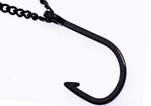 Mens Black Plated Stainless Steel Hook Pendant