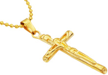 Load image into Gallery viewer, Mens Gold Plated Stainless Steel Cross Pendant - Blackjack Jewelry