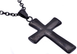 Mens Black Plated Stainless Steel Cross Pendant
