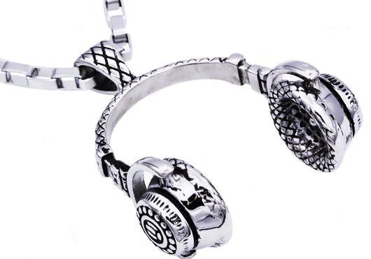 Mens Stainless Steel Headphone Pendant