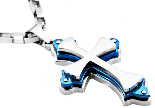 Mens Stainless Steel Large Cross Pendant Necklace With Blue Plated Edges - Blackjack Jewelry