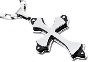 Mens Stainless Steel Large Cross Pendant Necklace With Black Plated Edges - Blackjack Jewelry