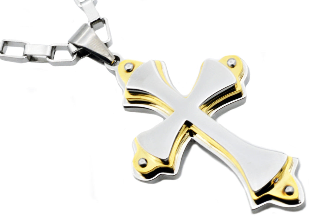Mens Stainless Steel Large Cross Pendant Necklace With Gold Plated Edges - Blackjack Jewelry