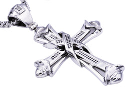 Mens Stainless Steel Cross Pendant With Black Cubic Zirconia