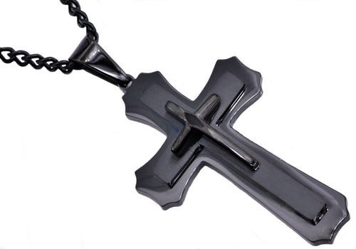 Mens Black Plated Stainless Steel Layered Cross Pendant Necklace - Blackjack Jewelry