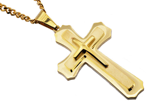Mens Gold Plated Stainless Steel Layered Cross Pendant Necklace - Blackjack Jewelry