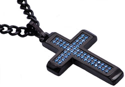 Mens Black Plated Stainless Steel Cross Pendant With Blue Cubic Zirconia - Blackjack Jewelry