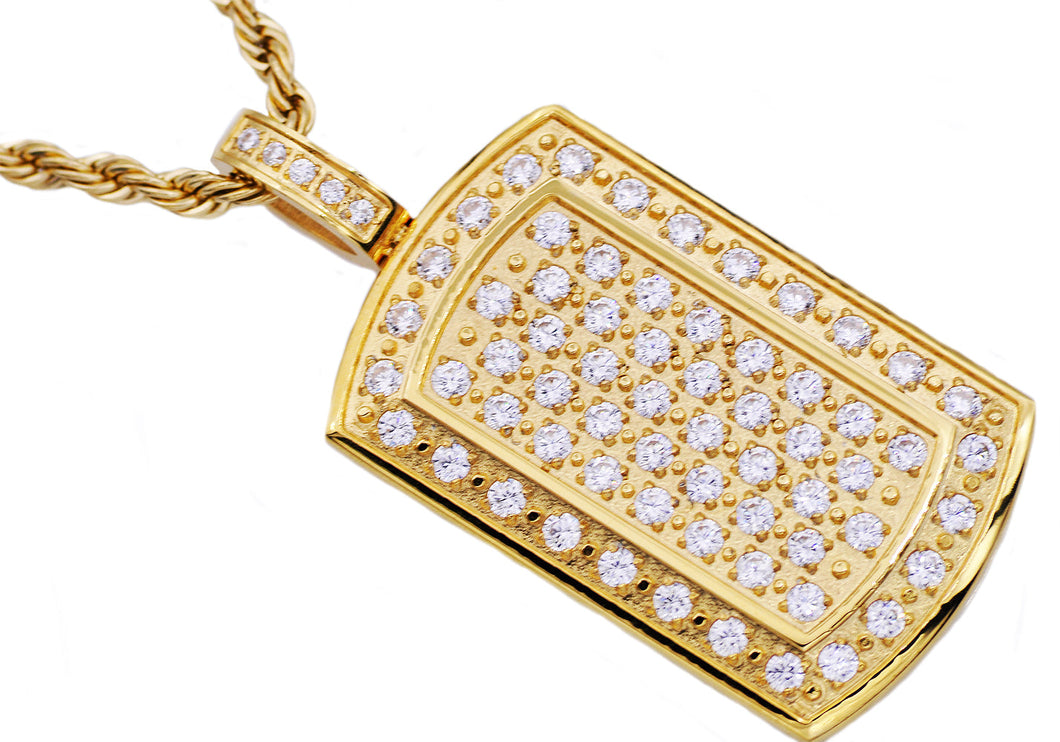 Mens Gold Stainless Steel Dog Tag Pendant With Cubic Zirconia - Blackjack Jewelry