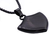 Mens Black Plated Stainless Steel Sheild Pendant