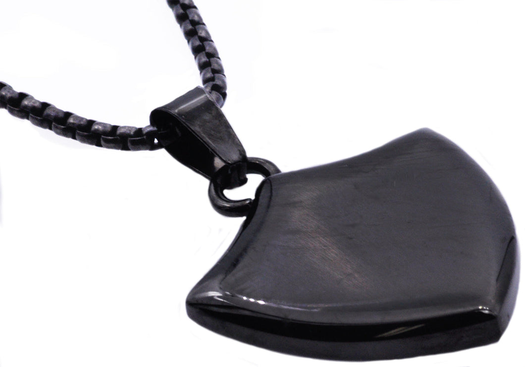 Mens Black Stainless Steel Shield Pendant - Blackjack Jewelry