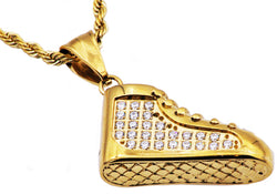 Mens Gold Plated Stainless Steel Sneaker Pendant With Cubic Zirconia
