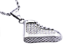 Load image into Gallery viewer, Mens Stainless Steel Sneaker Pendant With Cubic Zirconia - Blackjack Jewelry