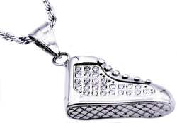 Mens Stainless Steel Sneaker Pendant With Cubic Zirconia