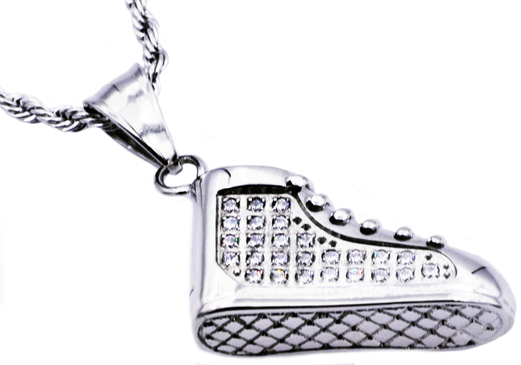 Mens Stainless Steel Sneaker Pendant With Cubic Zirconia - Blackjack Jewelry