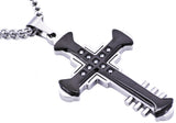 Mens Black Plated Stainless Steel Cross Pendant With Cubic Zirconia - Blackjack Jewelry