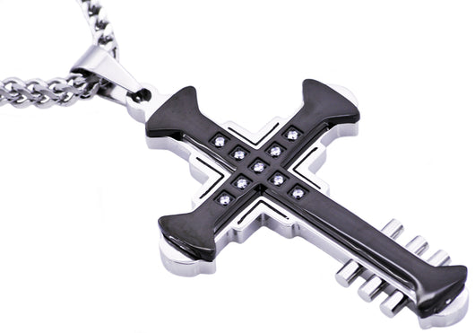 Mens Black Plated Stainless Steel Cross Pendant With Cubic Zirconia