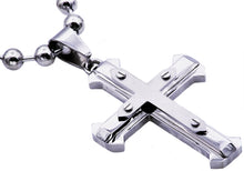Load image into Gallery viewer, Mens Stainless Steel Cross Pendant - Blackjack Jewelry