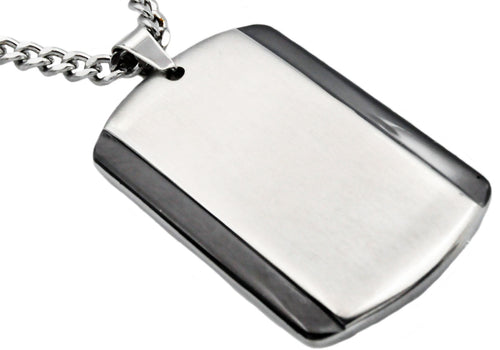 Mens Black Plated Stainless Steel Dog Tag Pendant - Blackjack Jewelry