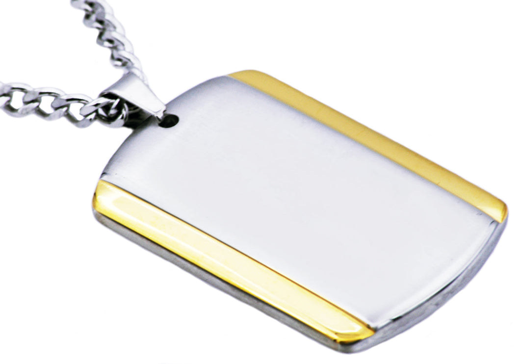 Mens Two Tone Gold Stainless Steel Dog Tag Pendant - Blackjack Jewelry