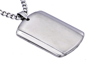 Mens Plated Stainless Steel Dog Tag Pendant - Blackjack Jewelry