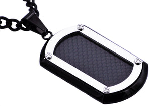 Mens Stainless Steel Dog Tag Pendant With Carbon Fiber - Blackjack Jewelry