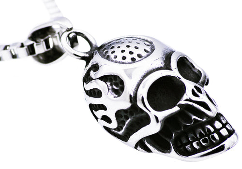 Mens Stainless Steel Skull Pendant - Blackjack Jewelry