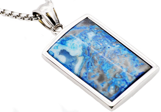 Mens Stainless Steel Blue Lace Agate Dog Tag Pendant
