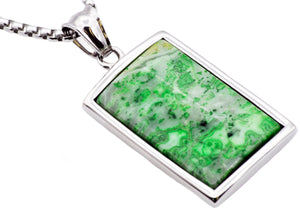 Mens Stainless Steel Green Lace Agate Dog Tag Pendant - Blackjack Jewelry