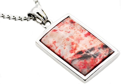 Mens Stainless Steel Red Lace Agate Dog Tag Pendant - Blackjack Jewelry