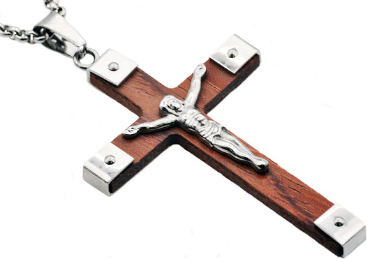 Mens Wood And Stainless Steel Cross Pendant