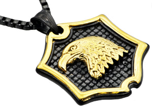 Mens Black And Gold Stainless Steel Eagle Pendant Necklace - Blackjack Jewelry