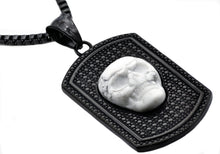 Load image into Gallery viewer, Mens Black Plated Stainless Steel Howlite Skull Dog Tag Pendant - Blackjack Jewelry