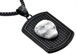 Mens Black Plated Stainless Steel Howlite Skull Dog Tag Pendant