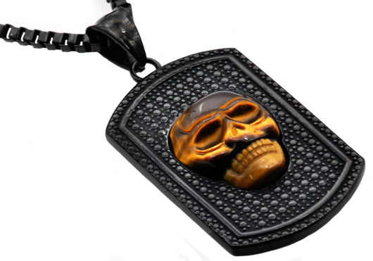 Mens Black Plated Stainless Steel Tiger Eye Skull Dog Tag Pendant