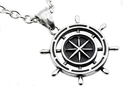 Mens Stainless Steel Ship Helm Pendant