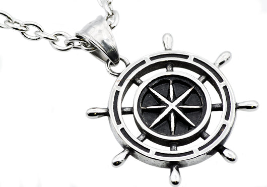 Mens Stainless Steel Ship Helm Pendant - Blackjack Jewelry