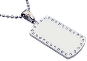 Mens Engravable Dog Tag Stainless Steel Pendant Necklace With Cubic Zirconia - Blackjack Jewelry